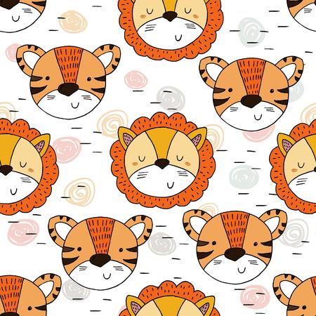 子供のためのかわいいトラとライオンのパターンを印刷します。印刷用テンプレート。
