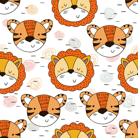 Cute tiger and lion Pattern print for kids. Printable templates. Иллюстрация