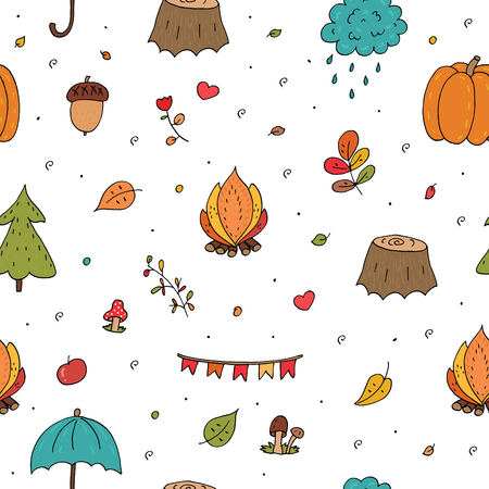 Cute seamless pattern with Hand drawn Cute Autumn Floral Forest Design Elements.