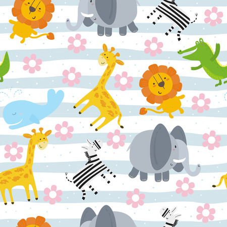 cartoon positive seamless pattern with cute girls.