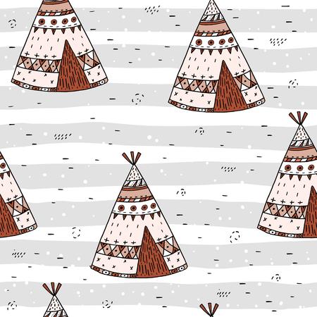 Hand drawn Cute seamless pattern with tee pee wigwam, North American Indian tee pee.