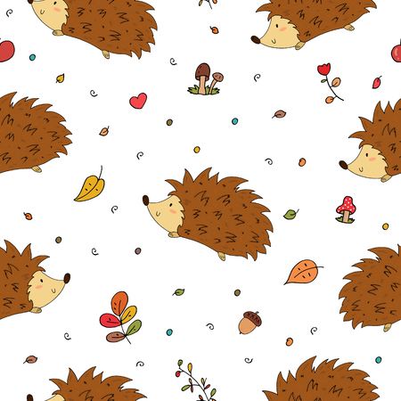 Hand Drawn seamless cute hedgehog pattern vector illustration