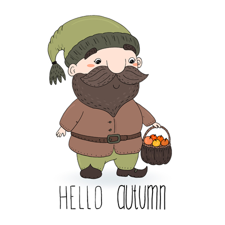 Hand drawn vector illustration with cute cartoon gnome. Hello autumn card