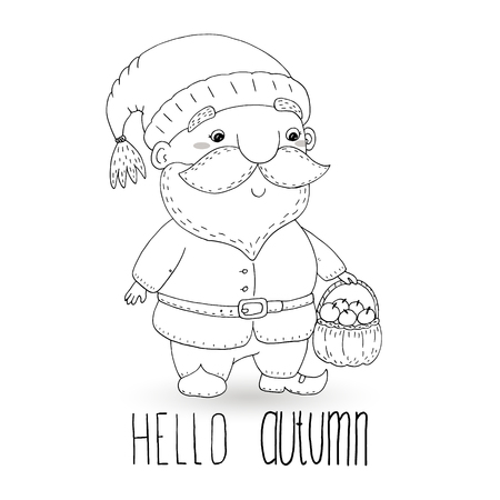 coloring book with Hand drawn cute cartoon gnome. vector illustration. Illustration