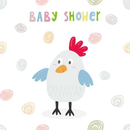 Cute chicken cartoon character, illustration. Baby Shower card design