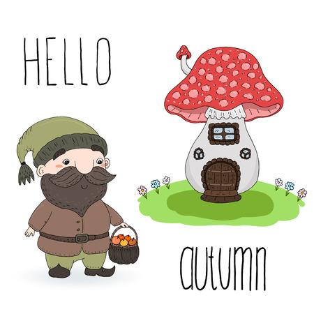 Hand drawn vector illustration with cute cartoon gnome and house mushroom. Hello autumn card
