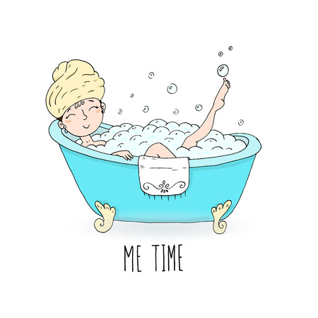 Me time card. Illustration of young beautiful woman taking bath.
