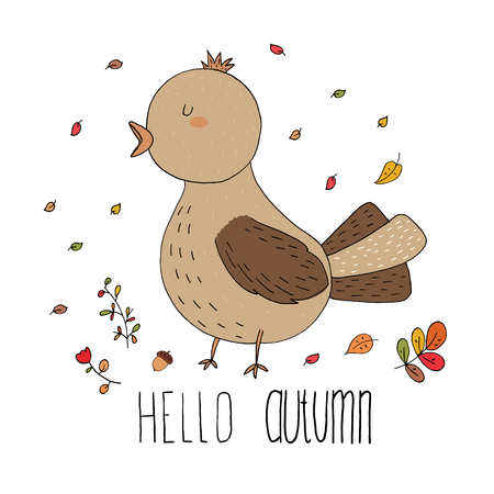 Hello autumn card made of leafs and bird in vector. Illustration