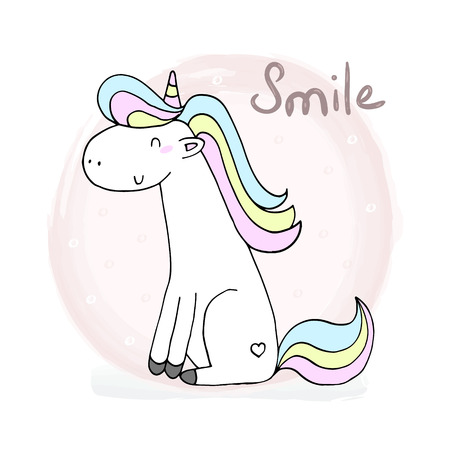 Cute unicorn print for kids. Smile card. Illustration