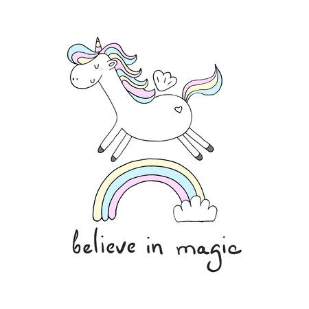 Cute unicorn print for kids. believe in magic card.