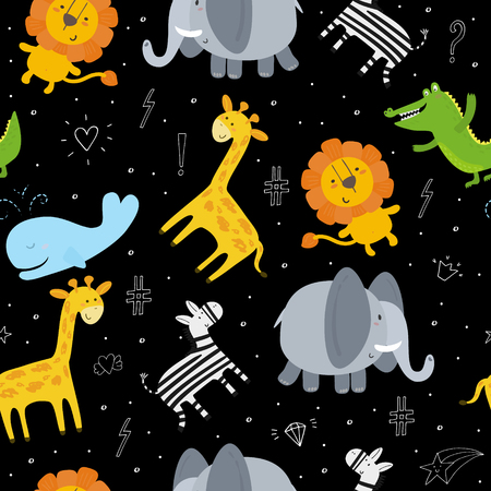 Cute hand drawn funny animals. Seamless pattern Illustration