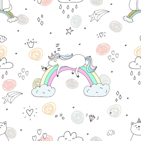 Cute hand drawn unicorn pattern. Ilustração