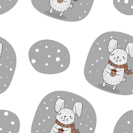 vintage postcard: Vector pattern with rabbit and cup. Printable templates Illustration