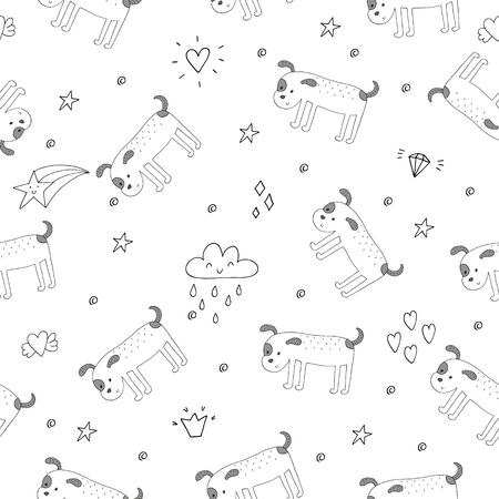 funny glasses: seamless pattern with Black and white vector sketch of a dog. Vector Illustration. Illustration