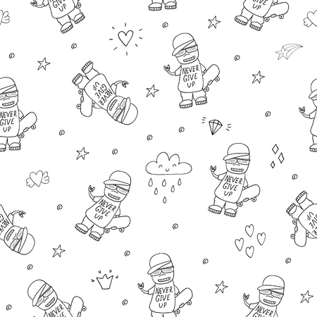 Hand drawn seamless pattern with Smiling Teen with a Skateboard Illustration