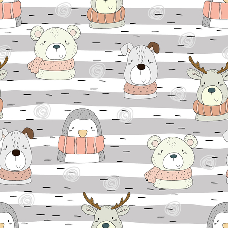 Cute hand drawn doodles funny animals. Seamless pattern. Çizim