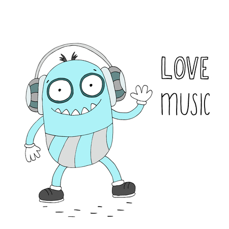 Hand Drawn cute cartoon smiling monster with music text on white background. Illustration
