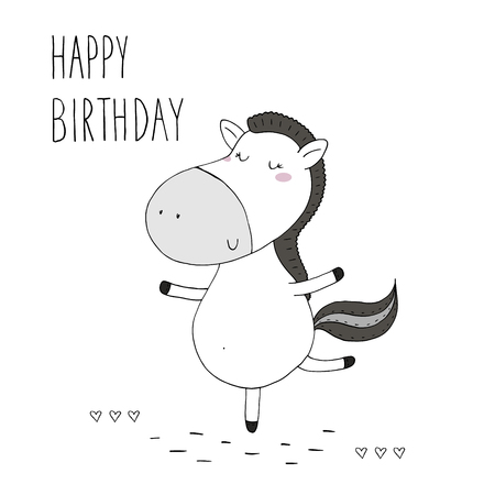 Happy birthday card with cute hand drawn funny horse. Stock Vector - 87904918