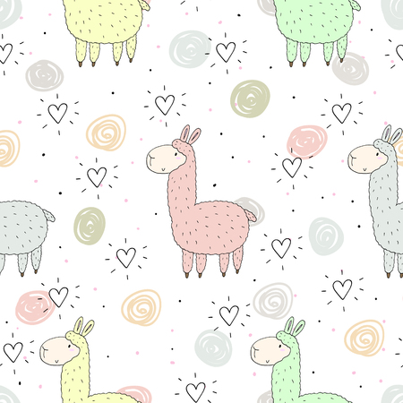 Cute seamless pattern with funny llama. vector illustration.
