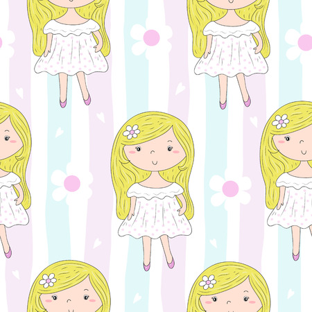 Cute hand drawn with cute little girl vector seamless pattern illustration. Ilustrace
