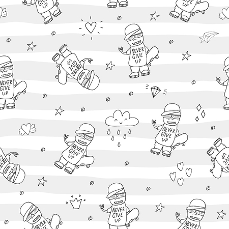 Hand drawn seamless pattern with Smiling Teen with a Skateboard.