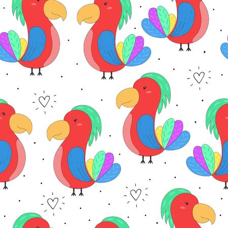 seamless hand drawn parrot pattern vector illustration.