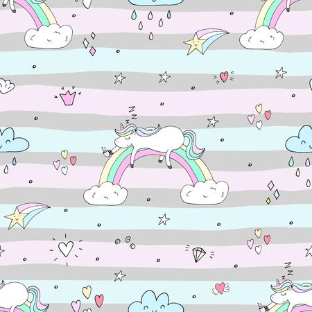 Cute hand drawn unicorn vector pattern. vector illustration. Ilustração