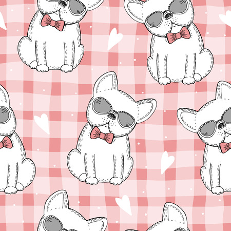 seamless pattern with Black and white vector sketch of a dog. Vector Illustration. Vettoriali