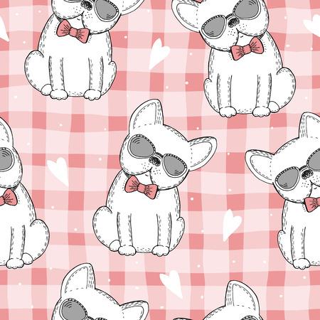 Naadloos patroon met zwart-witte vector schets van een hond. Vectorillustratie. Stockfoto - 91375319