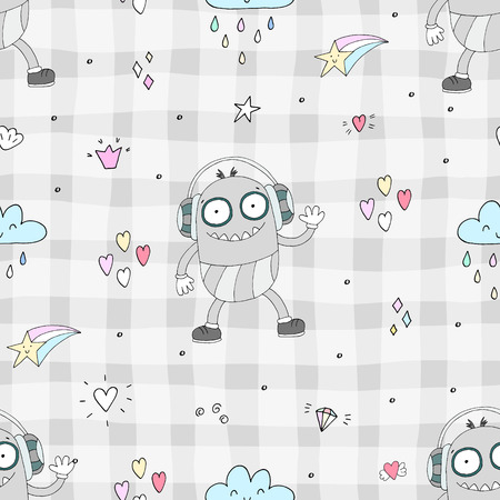 Pattern with cute cartoon monster. Illustration