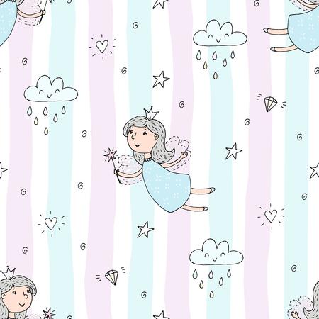 Cartoon positive pattern with cute fairy.
