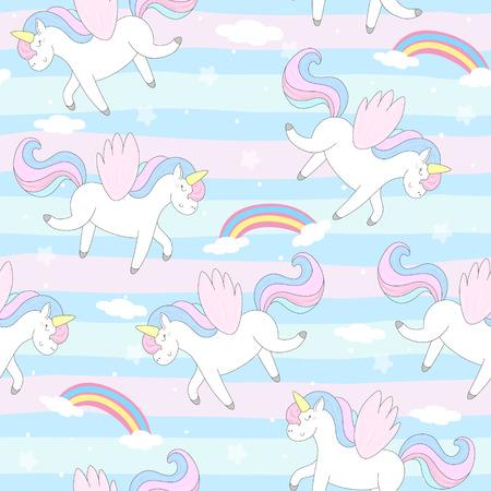 Cute hand drawn unicorn vector pattern. vector illustration. Vectores