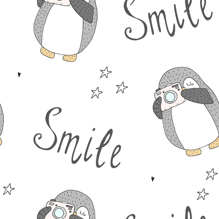 Seamless pattern with cute penguins. Hand-drawn illustration.