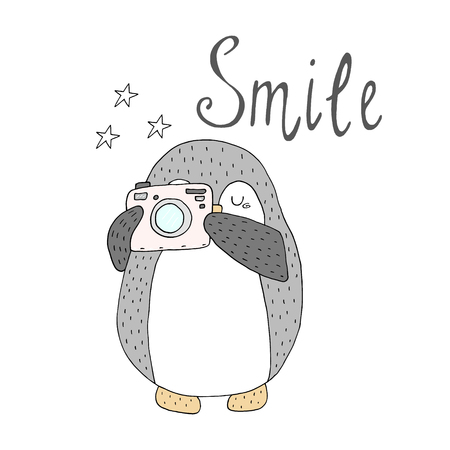 Smile card with penguins. Printable templates design.