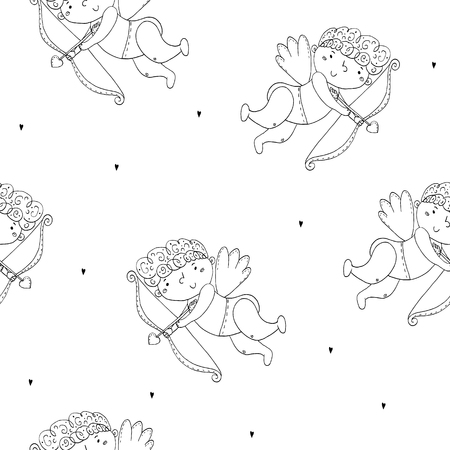 Seamless romantic pattern with cupids. Valentines day or wedding background.