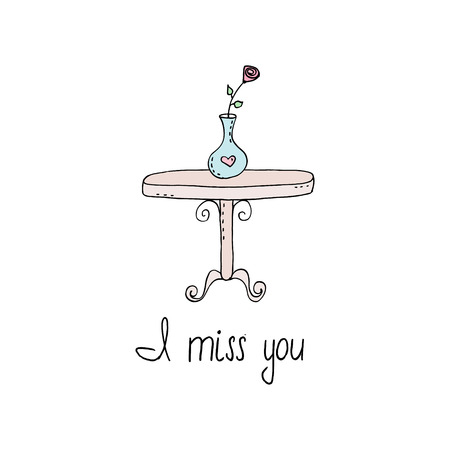 I miss you card with decorative table vector illustration
