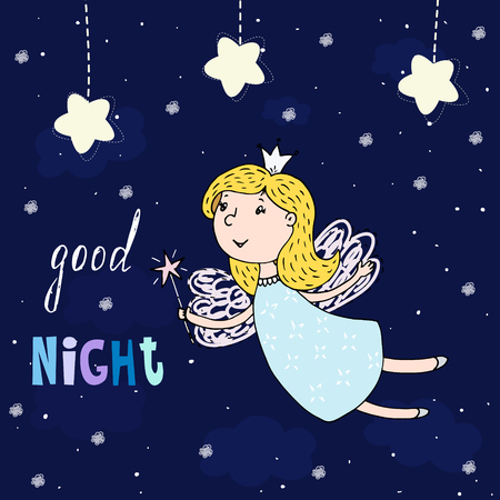 Good night card. Hand Drawn cute cartoon Fairy vector illustration.