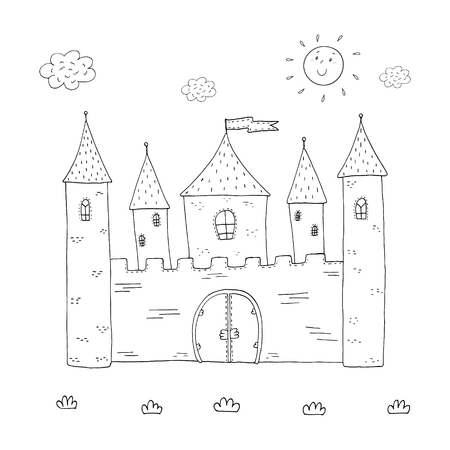 Coloring Book Fairy Tale Dragon And Magic Castle Design For Kids