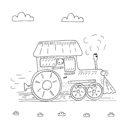 Hand drawn page for coloring book with train cartoon vector illustration. Printable templates.