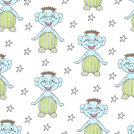 seamless pattern with cute cartoon Smiling monster. Illustration
