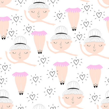 Cute hand drawn with cute little girl vector seamless pattern illustration. Vettoriali