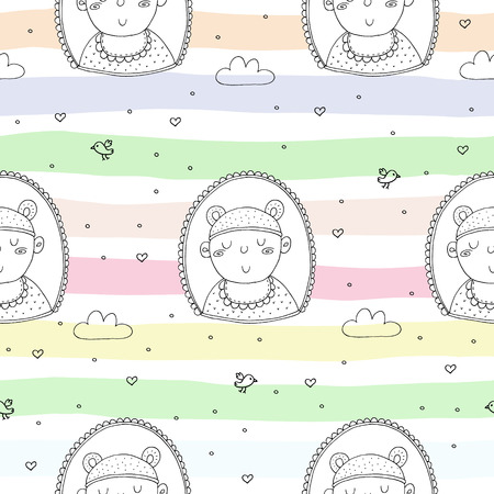 Cute seamless pattern with funny baby vector illustration.