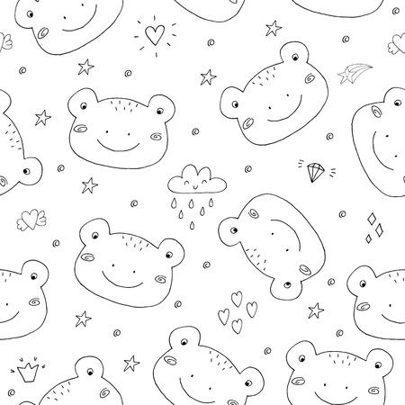 Cute seamless pattern with funny toad. vector illustration