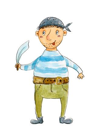 Hand drawn cute watercolor pirate. Watercolor hand drawn cheldrens illustration in cartoon style Stock Photo