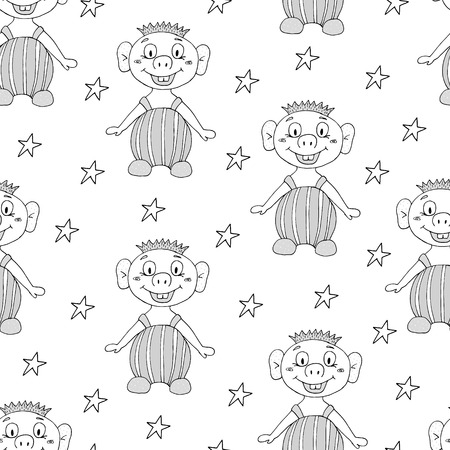 Seamless pattern with cute cartoon smiling boy illustration.