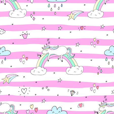 Cute hand drawn unicorn vector pattern. vector illustration. Ilustração
