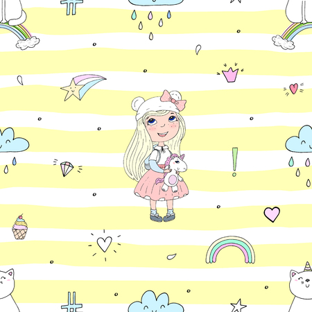Cute hand drawn with cute little girl vector seamless pattern illustration. 일러스트