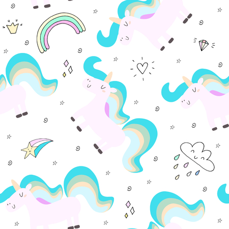 cute unicorn on a pink background. vector pattern
