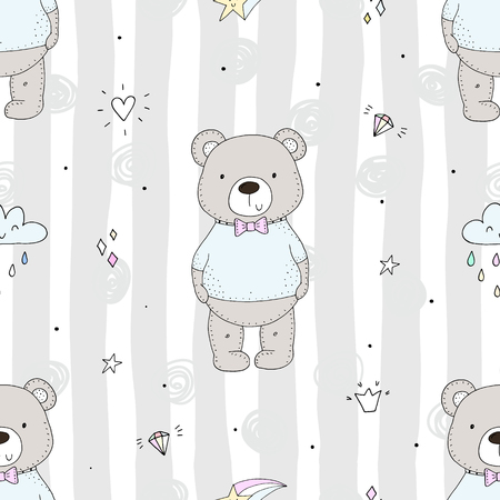 Cute seamless pattern with funny bear. vector illustration.