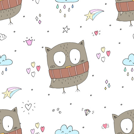Cute Vector owls in cartoon style. vector pattern. Illustration